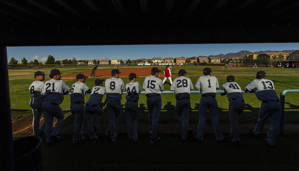 Spring Valley players support their teammates from the bench versus Liberty during the first ...