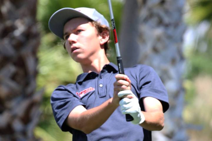 Coronado High's Brett Sodetz watches his drive during the Nevada State High School Reg ...