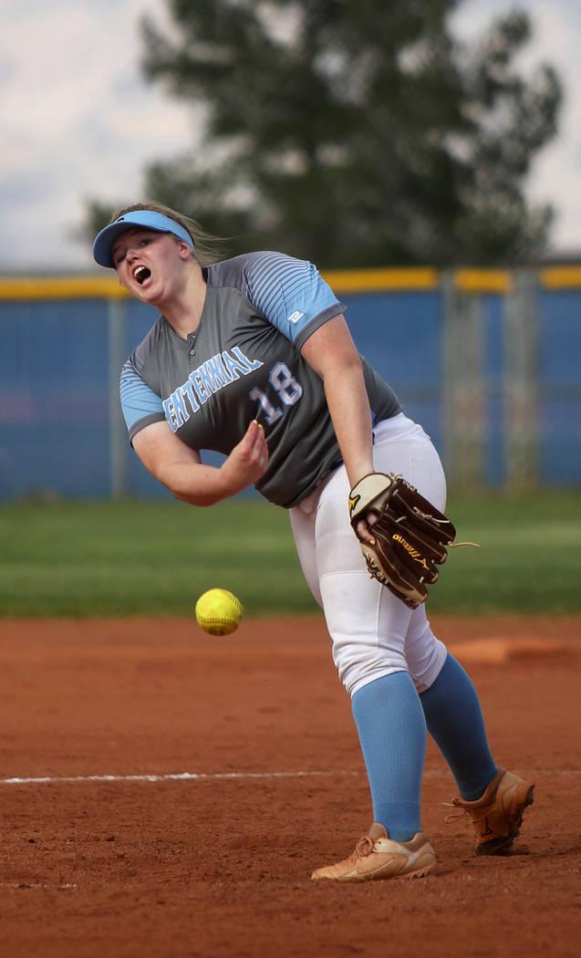 Centennial High School's Amanda Sink (18) throws a pitch against Shadow Ridge High Sch ...