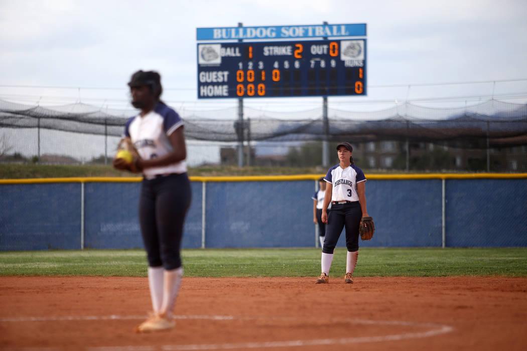 Shadow Ridge High School's Caitlin Covington (3) waits for the pitcher Jasmine Martin ...