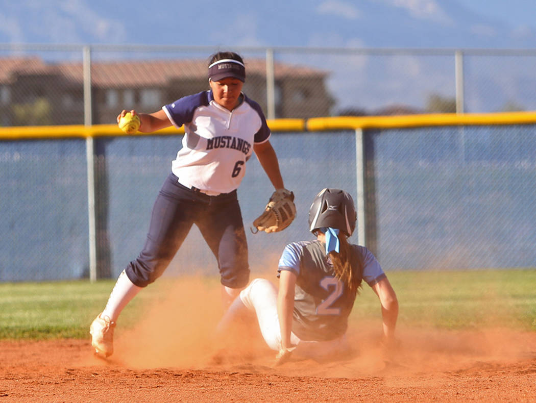 Shadow Ridge High School's Angelina Esqueda (6) attempts to tag out Centennial High Sc ...