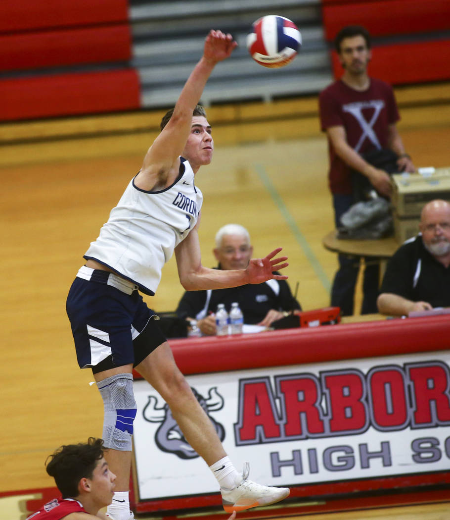 Coronado's Jacob Ceci (7) looks to spike the ball against Foothill during the Desert R ...