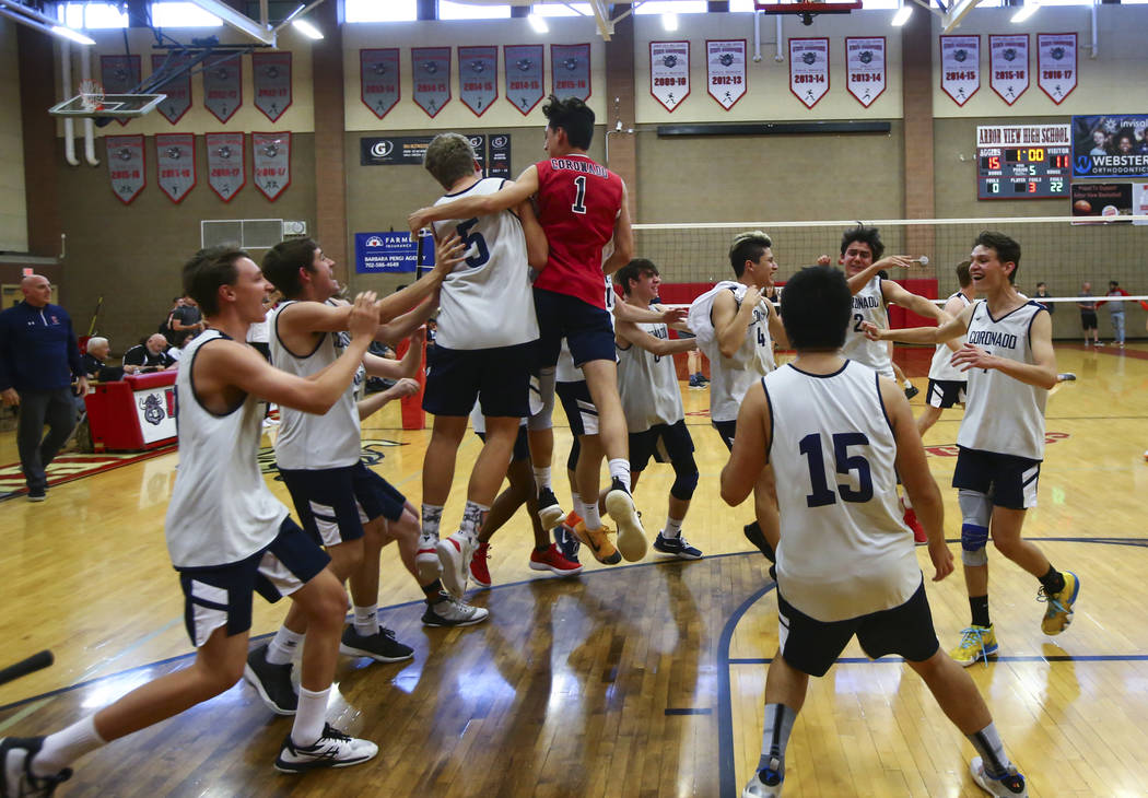 Coronado players celebrate their victory over Foothill in the Desert Region tournament champ ...