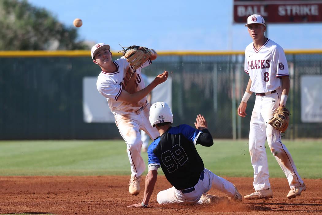 Desert Oasis' Zac Czerniawski (8) looks on as Colby Smith (10) throws to first base fo ...