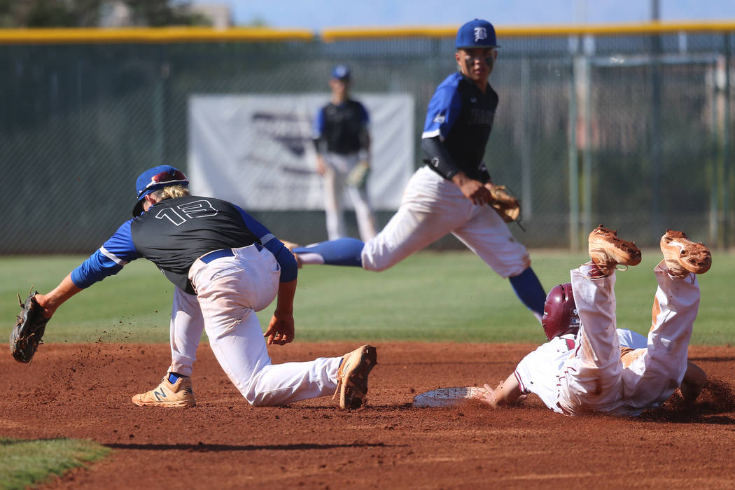 Desert Oasis' Colby Smith (10) steals second base safely against Basic's Dalton ...
