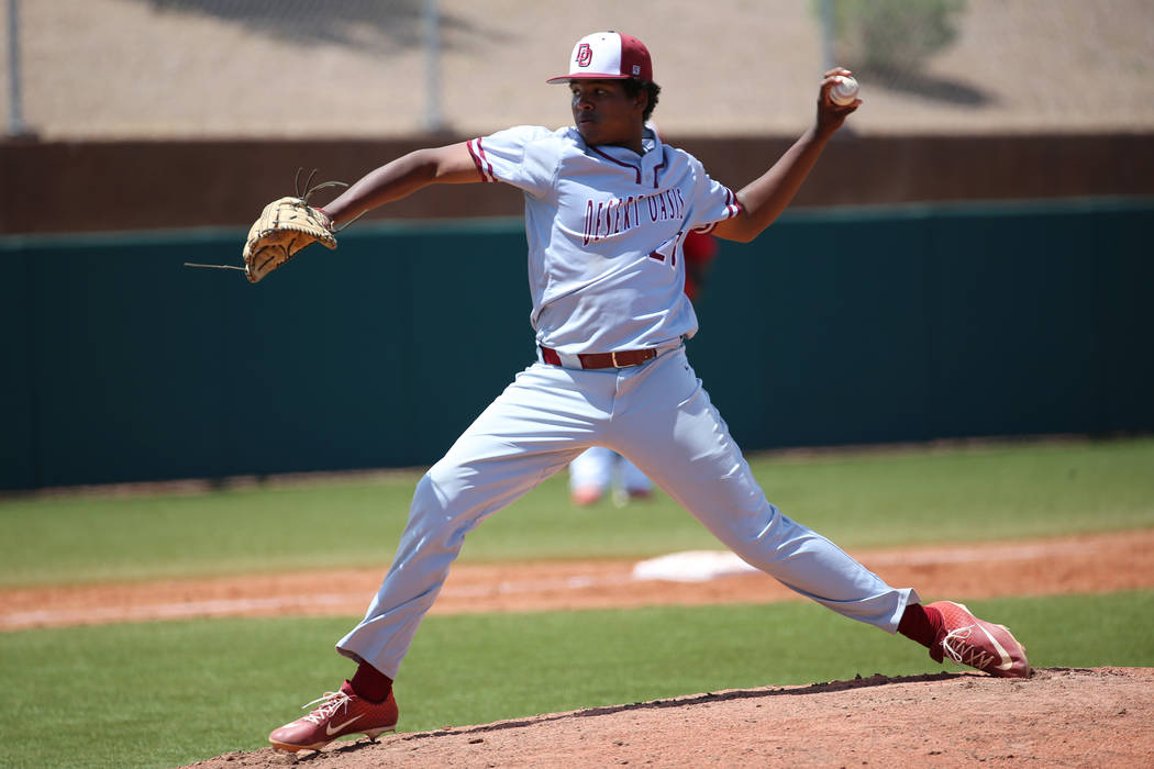 Desert Oasis' Jacob Walsh (21) pitches against Las Vegas in the Southern Nevada champi ...