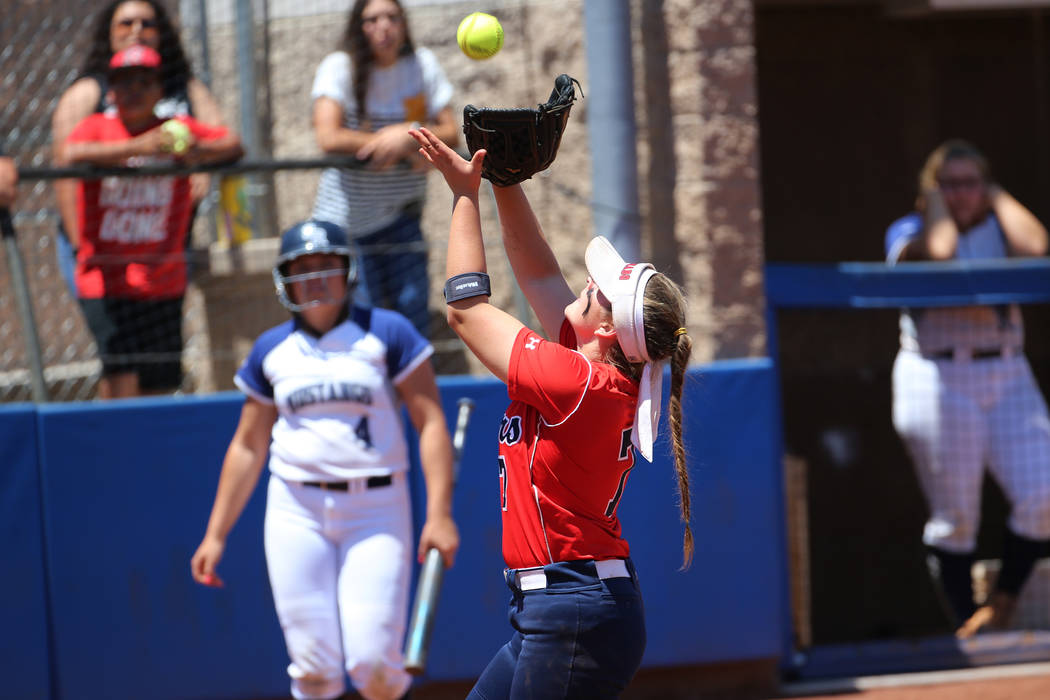Coronado's Ashley Ward (7) catches a ball in the infield for an out against Shadow Rid ...