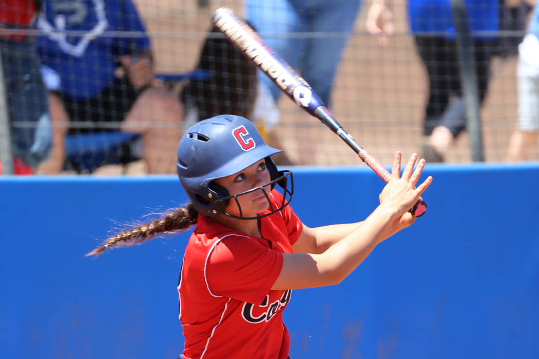 Coronado's Madison Stephens (8) hits a solo homer against Shadow Ridge in the Southern ...