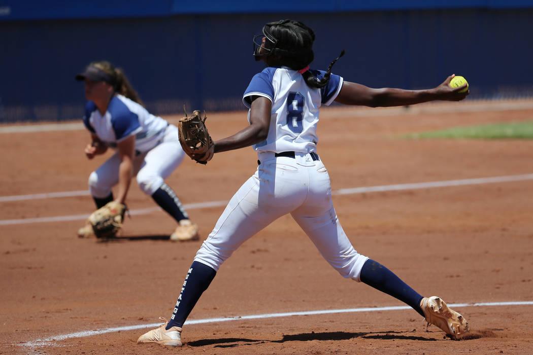 Shadow Ridge's Jasmine Martin (8) pitches against Coronado in the Southern Nevada cham ...