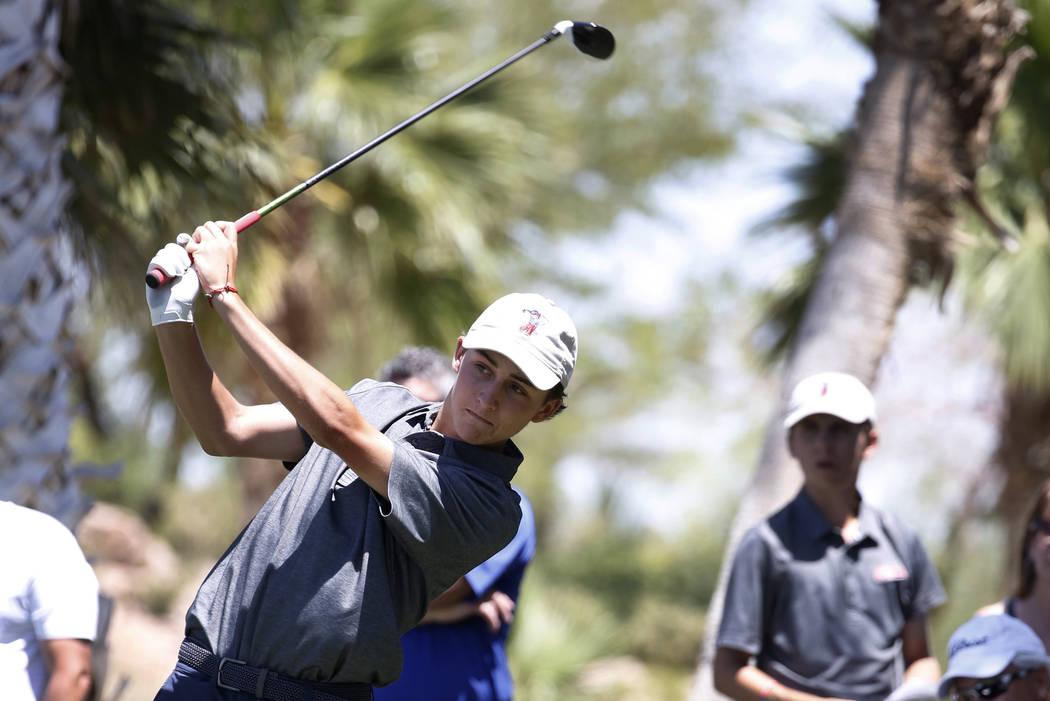 Coronado High's Benjamin Sawaia hits his tee shot at Reflection Bay Golf Club on Monda ...