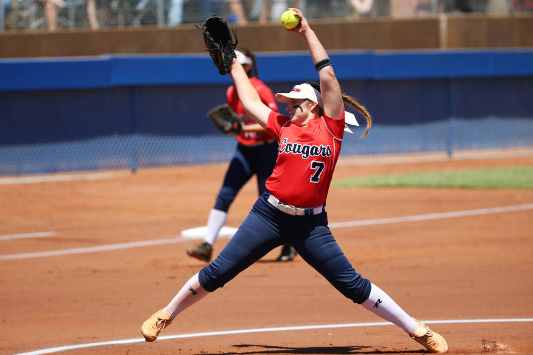 Coronado's Ashley Ward (7) pitches against Shadow Ridge in the Southern Nevada champio ...