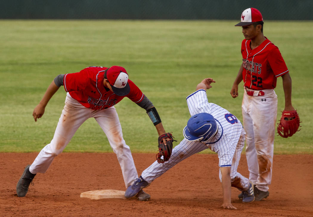Las Vegas' Nathan Freimuth (12) tags out Reno's Gunner Gouldsmith (8) who misses ...