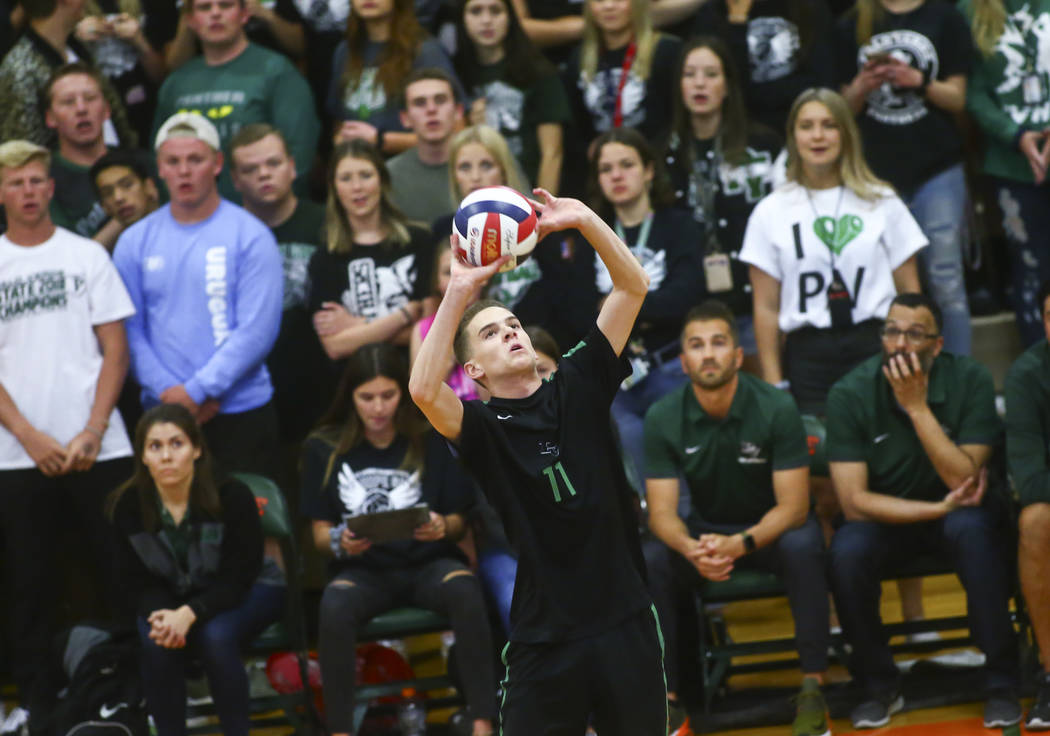Palo Verde's Cooper Jarman (11) sets the ball during the Class 4A state volleyball cha ...