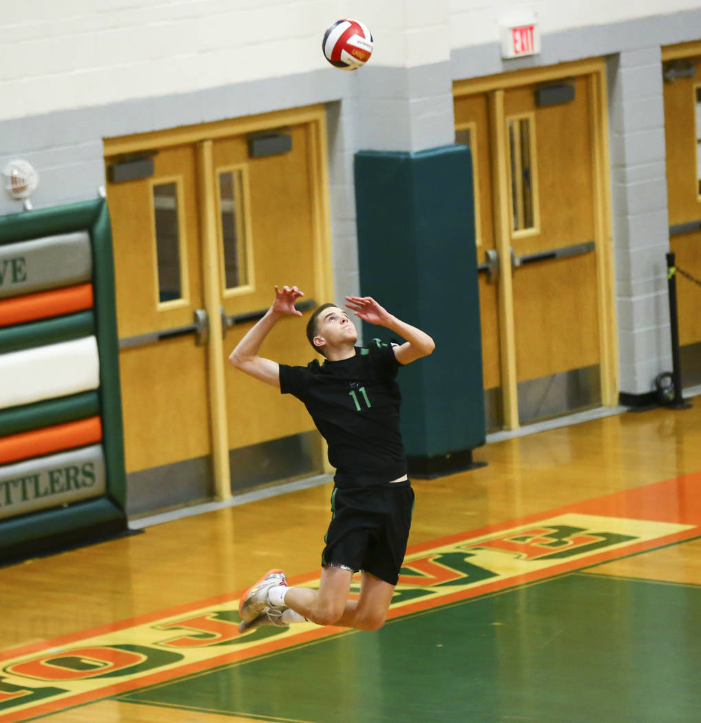 Palo Verde's Cooper Jarman (11) serves the ball against Coronado during the Class 4A s ...