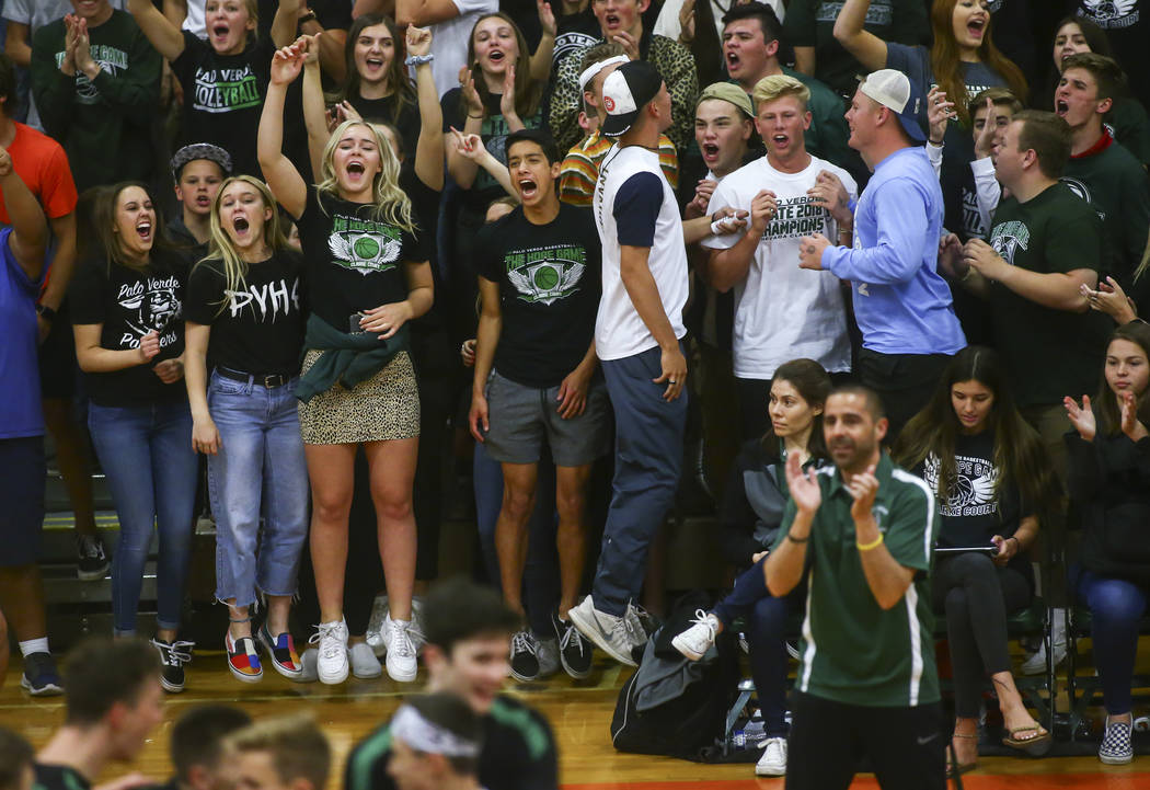Palo Verde students celebrate as their team leads against Coronado during the Class 4A state ...