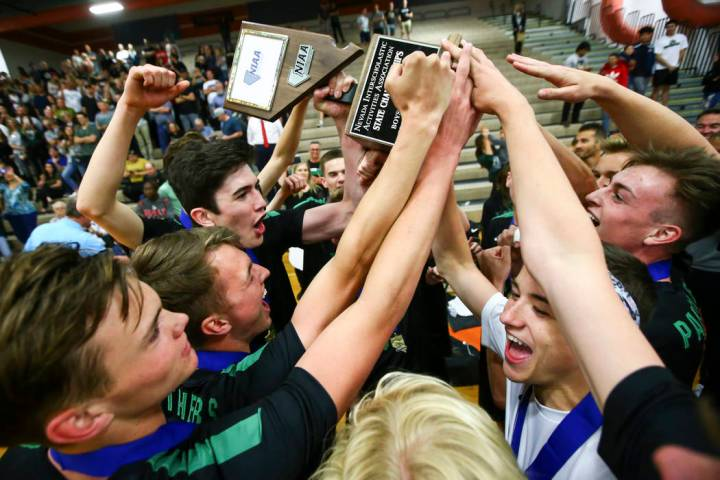 Palo Verde players celebrate their victory over Coronado in the Class 4A state volleyball ch ...