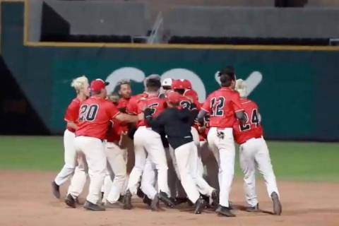 A screenshot from a YouTube video shows Las Vegas High baseball players celebrating their 5- ...