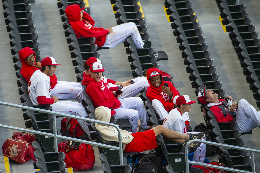 Arbor View players share some laughs in the stands before their game versus Las Vegas during ...