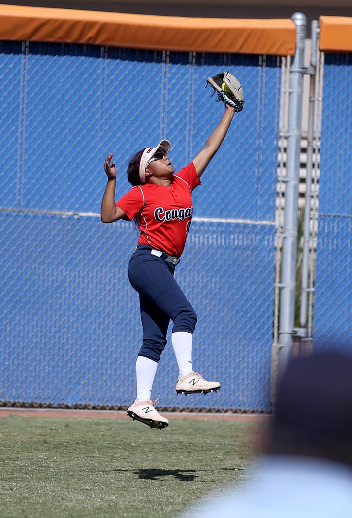 Coronado Kaila Angel (9) makes a leaping catch against Shadow Ridge in their Class 4A state ...