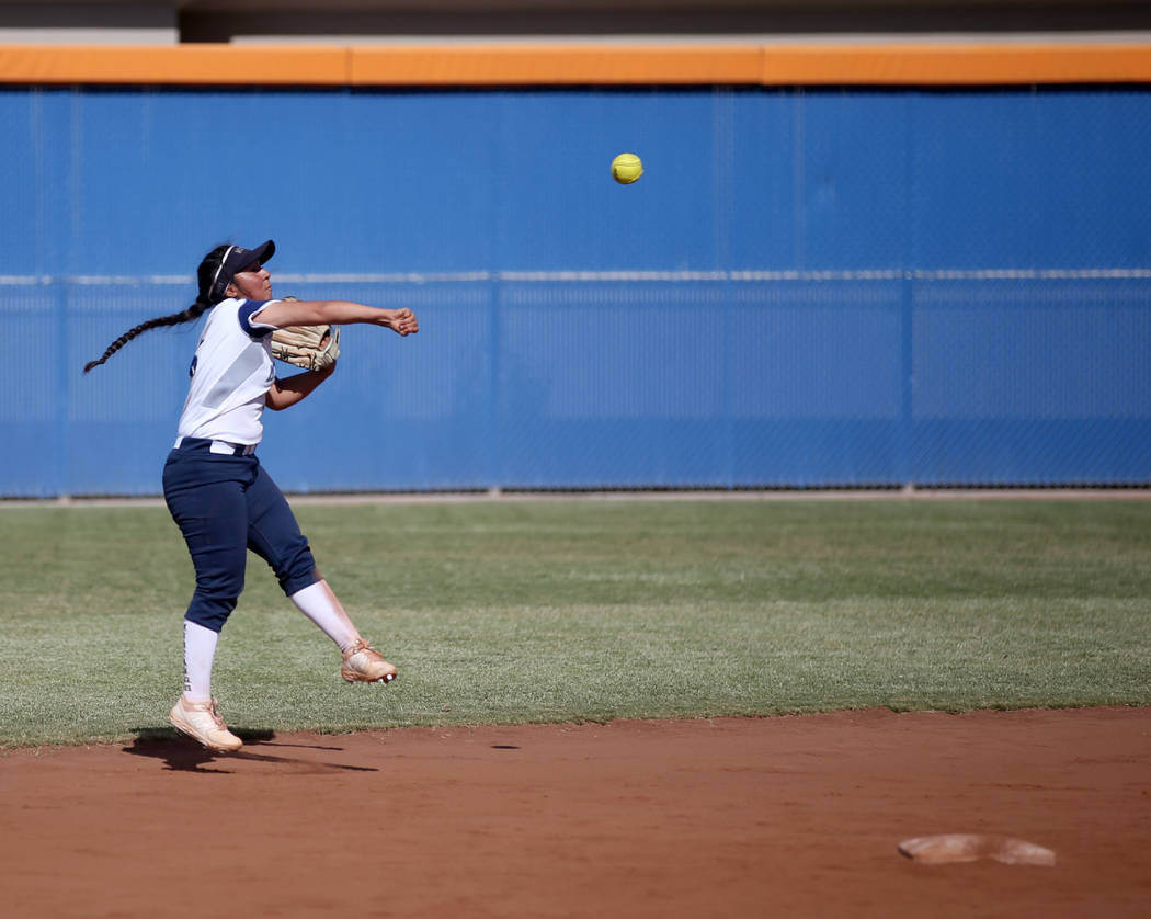 Shadow Ridge's Angelina Esqueda (6) throws to first against Coronado in their Class 4A ...