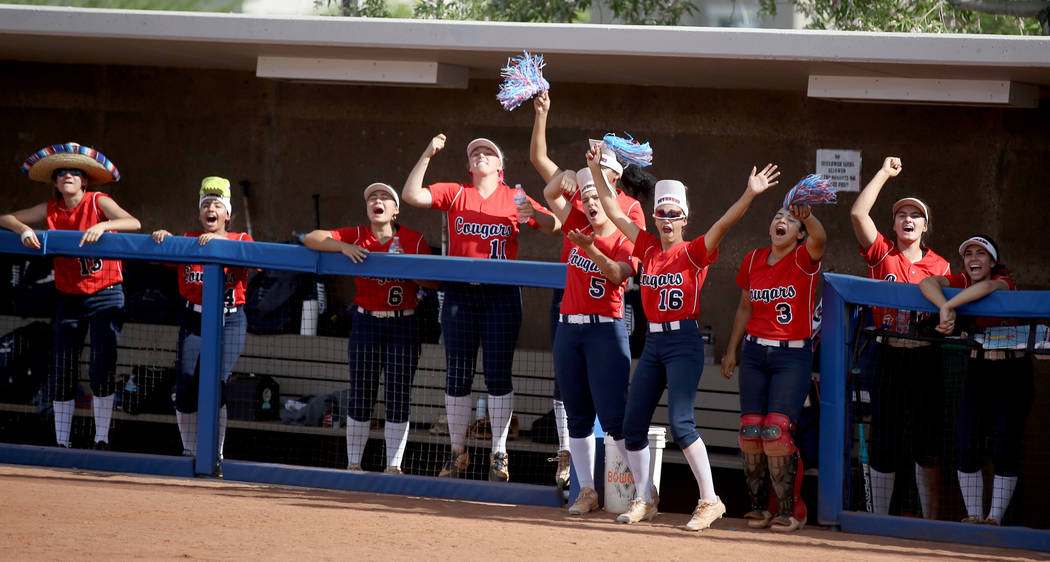 Coronado players cheer during their Class 4A state championship winners' bracket final ...