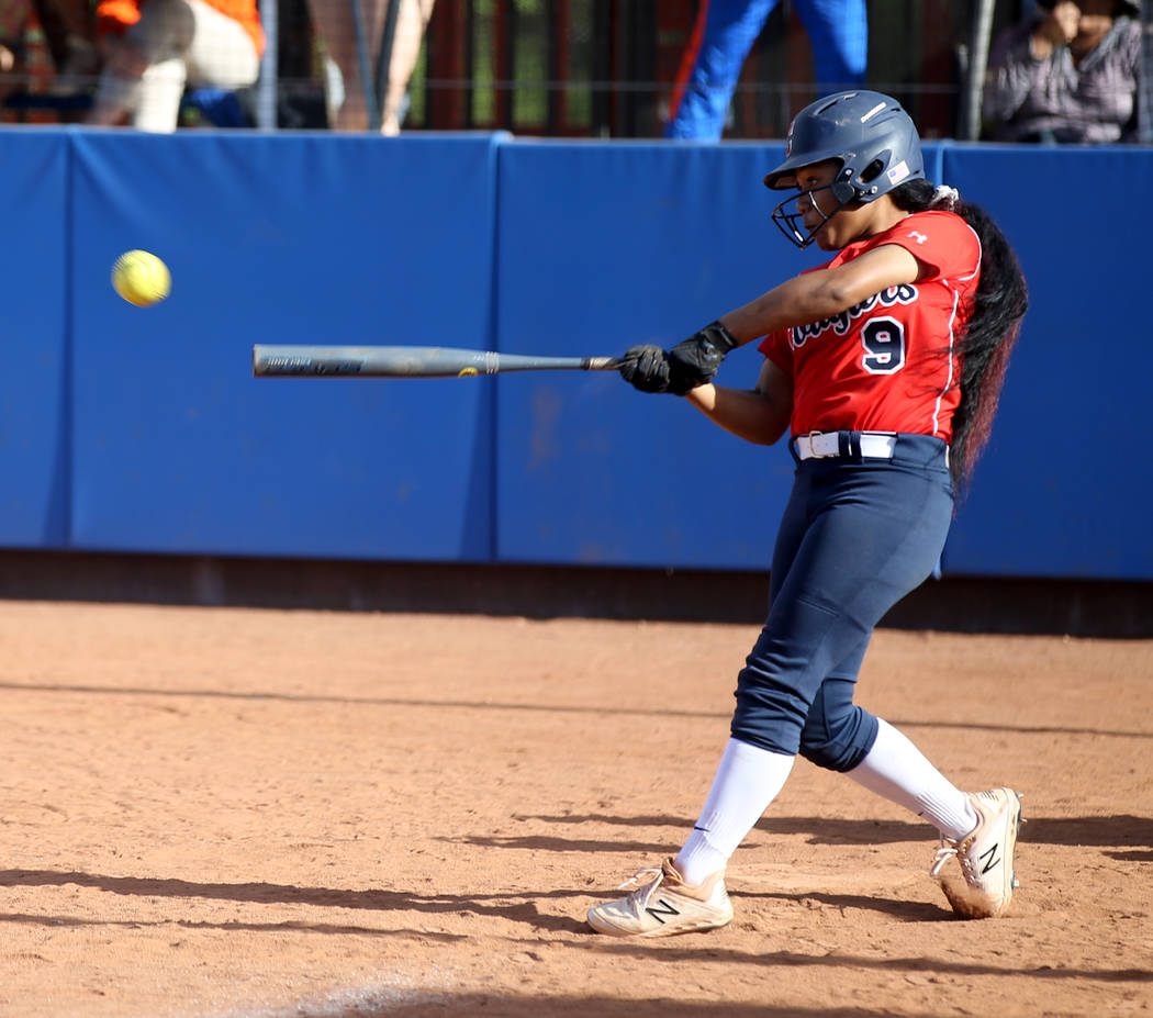 Coronado's Kaila Angel (9) hits against Shadow Ridge in their Class 4A state champions ...