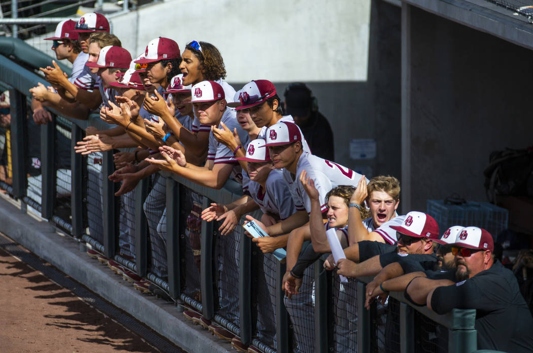Desert Oasis players cheer on their teammate batting against Reno in the first inning during ...
