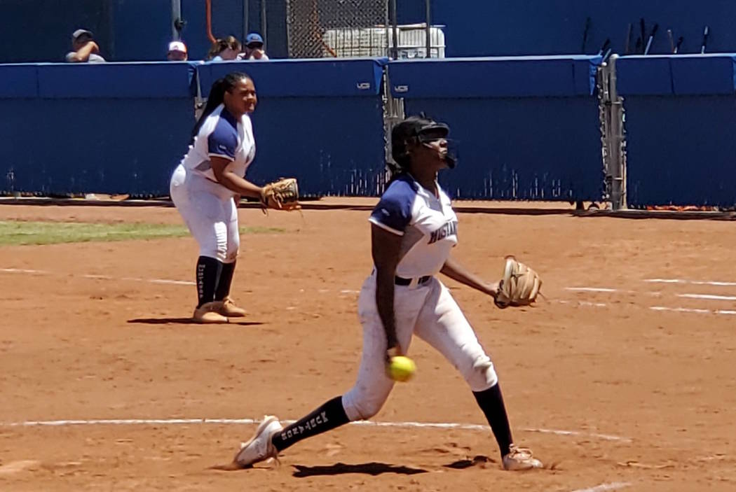 Shadow Ridge junior pitcher Jasmine Martin retired 12 of the 16 batters she faced and struck ...