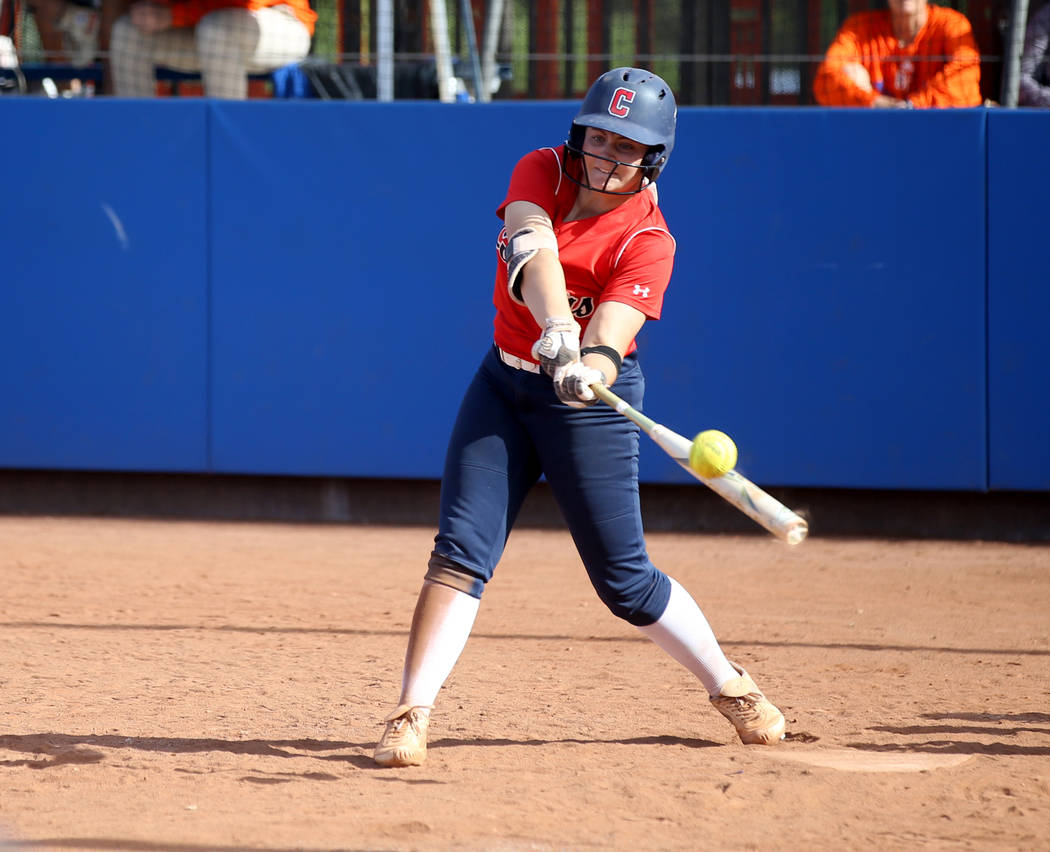 Coronado's Coronado Ashley Ward (7) hits against Shadow Ridge in their Class 4A state ...
