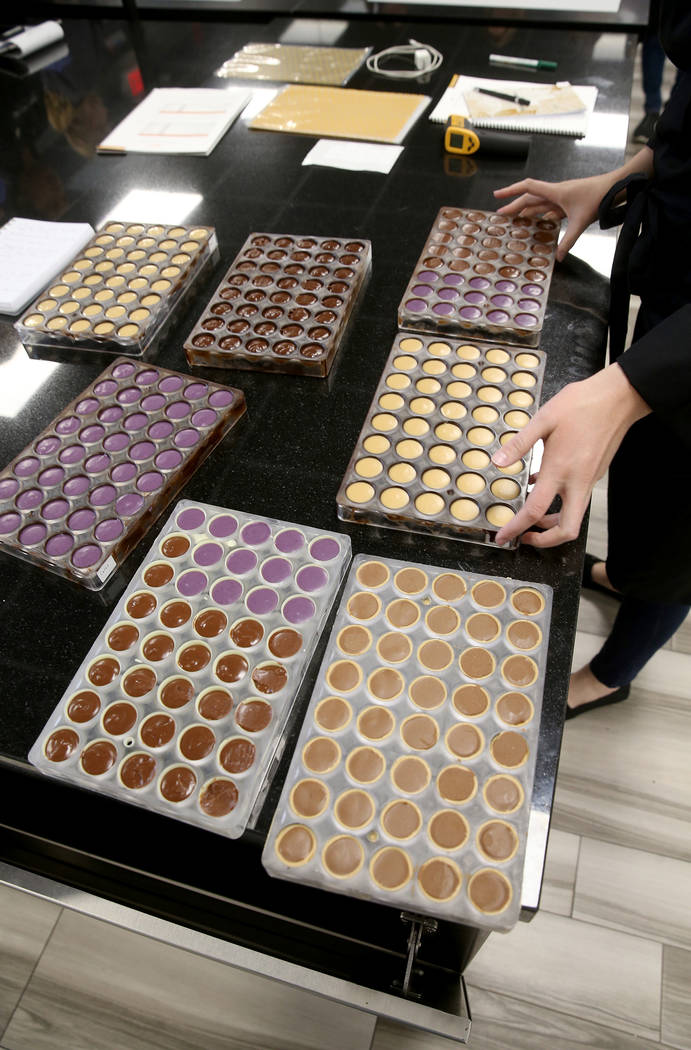 Student-created chocolates at Melissa Coppel's Las Vegas chocolate school Thursday, May 16, 201 ...