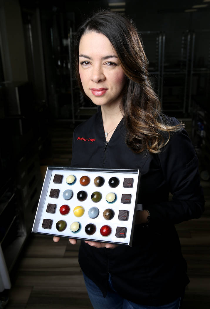 Melissa Coppel shows some of her creations at her Las Vegas chocolate school Friday, May 17, 20 ...