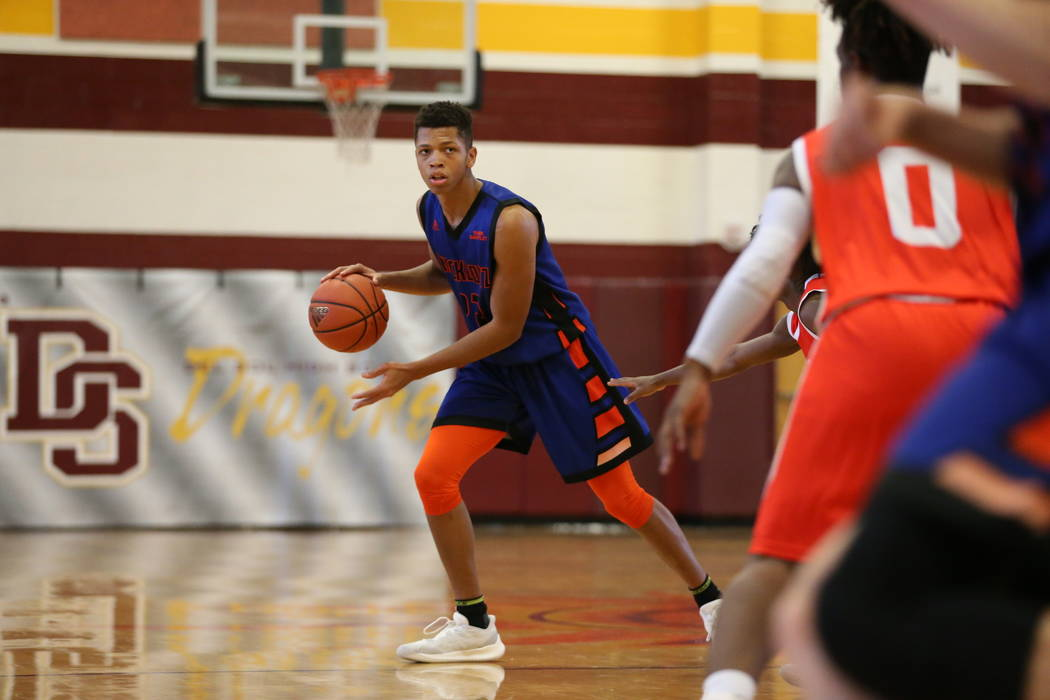 Las Vegas Knicks guard Nick Blake (23) during his basketball game at Del Sol Academy of the ...