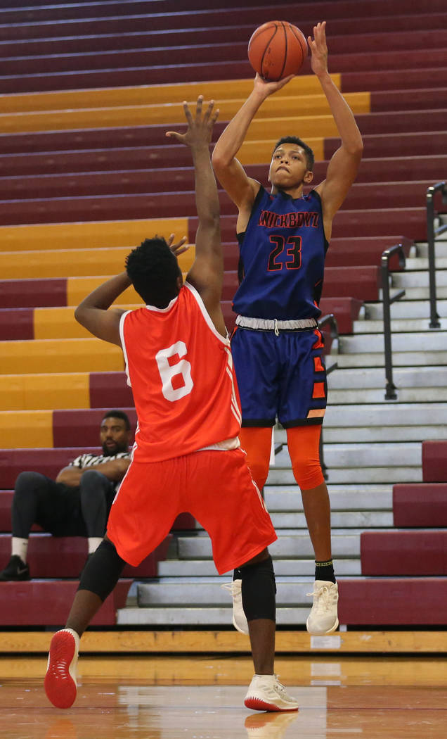Las Vegas Knicks guard Nick Blake (23) takes a shot during his basketball game at Del Sol Ac ...