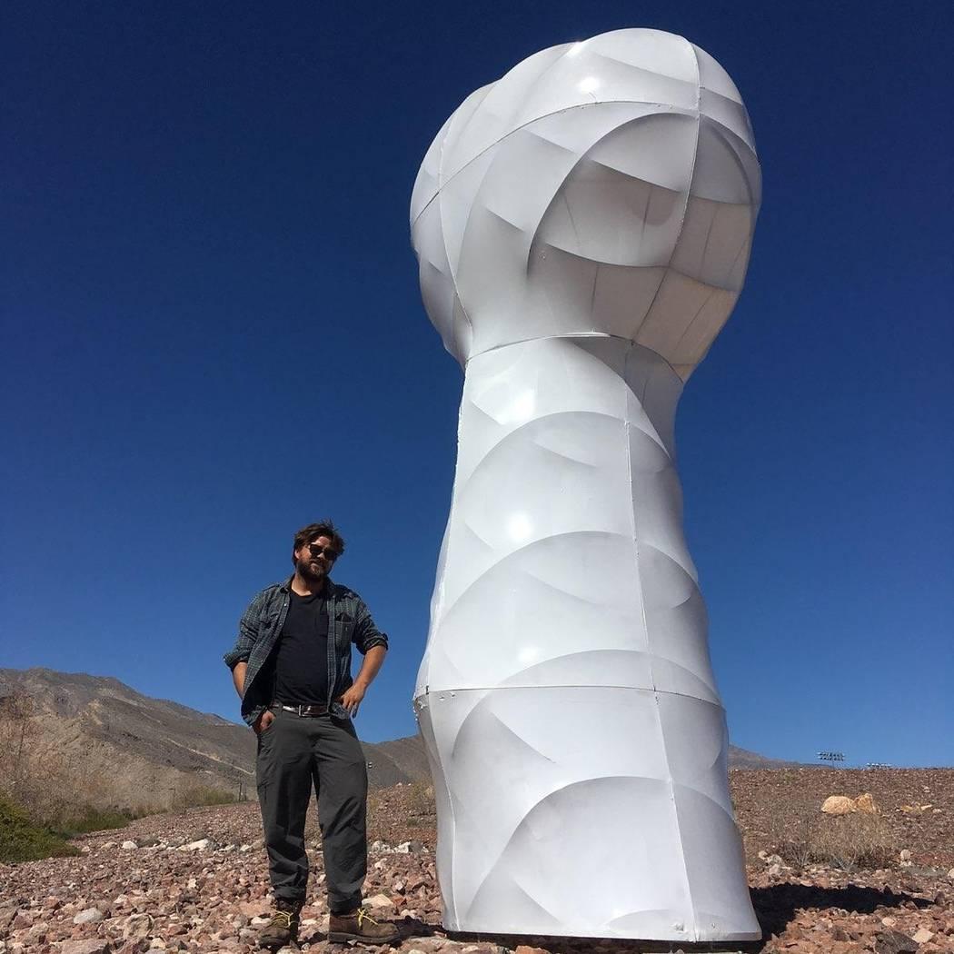 "Bobby Zokaites with his ""Hoodoo"" sculpture. Bobby Zokaites"