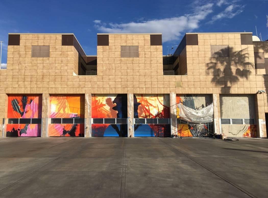 "Erik Burke painting ""6 Ways to Draw Attention"" at Fire Station HQ 1. Erik Burke"
