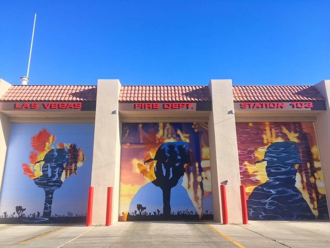 "Erik Burke's mural ""Right Place, Wrong Time: at Fire Station 103. Erik Burke"