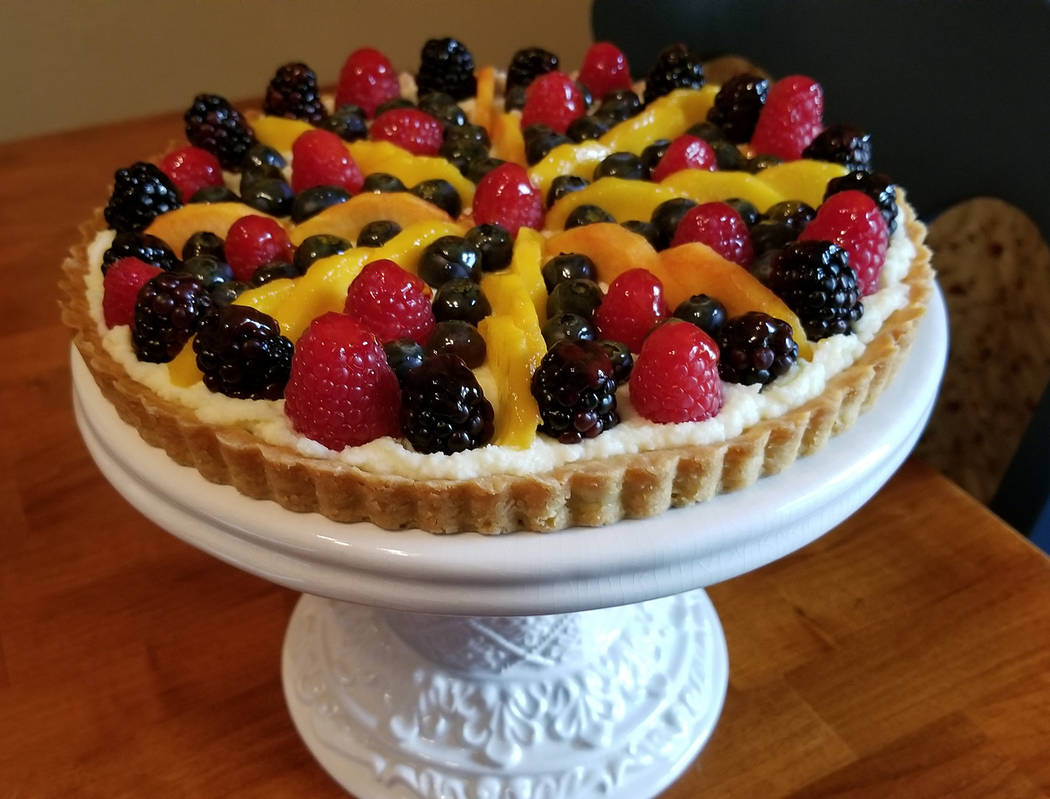 A fresh fruit tart is made with farmers market provisions. (Natalie Burt)