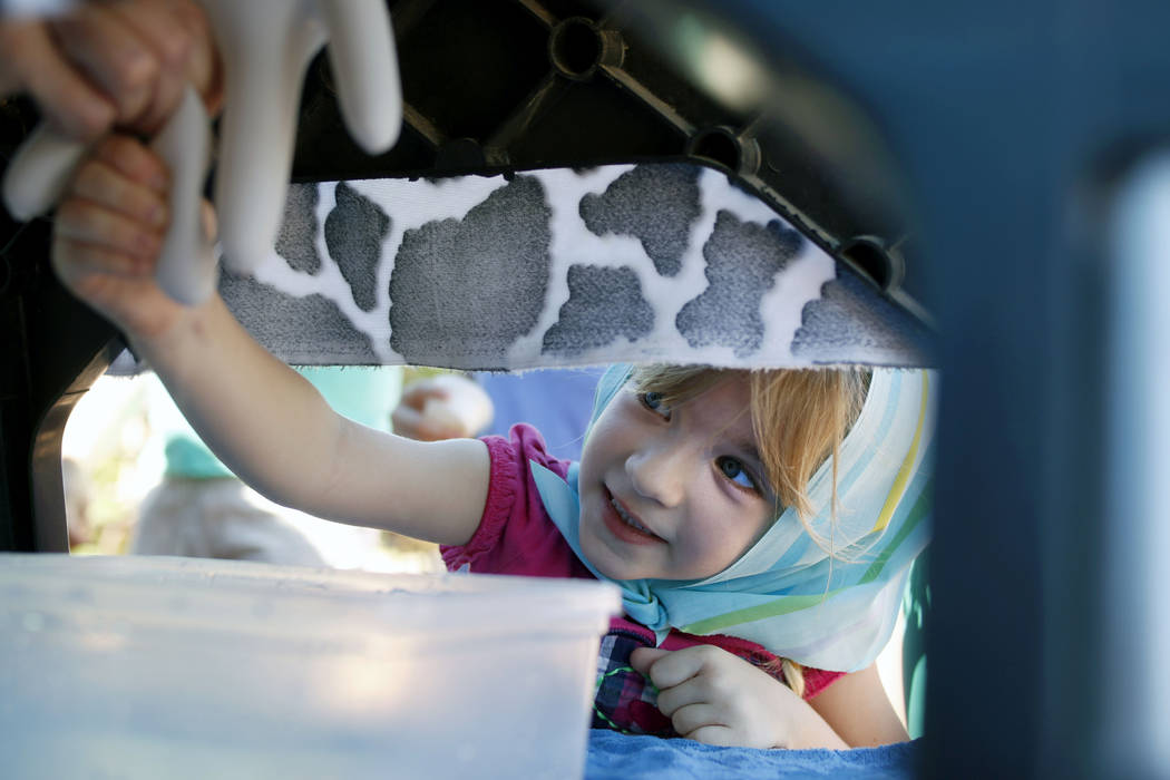 Ava Spencer, 5, learns how to milk a cow on a display during Pioneer Day at Old Mormon Fort in ...