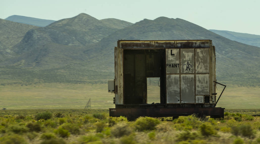 Building remains about the Nevada National Security Test Site near places the Apollo 11 astrona ...
