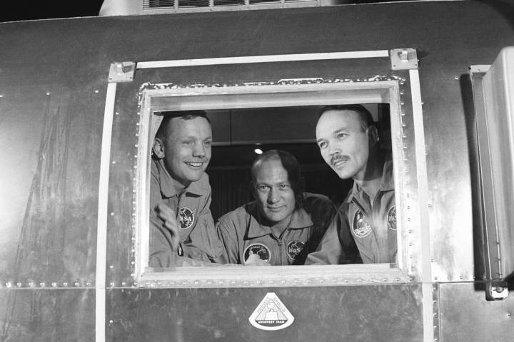 In this July 27, 1969 file photo, Apollo 11 crew members, from left, Neil Armstrong, Buzz Aldri ...