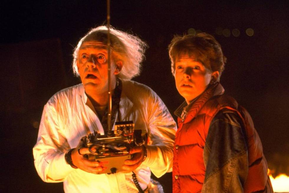 """Christopher Lloyd and Michael J. Fox in the Universal film """"Back to the Future."""" (1985)"""