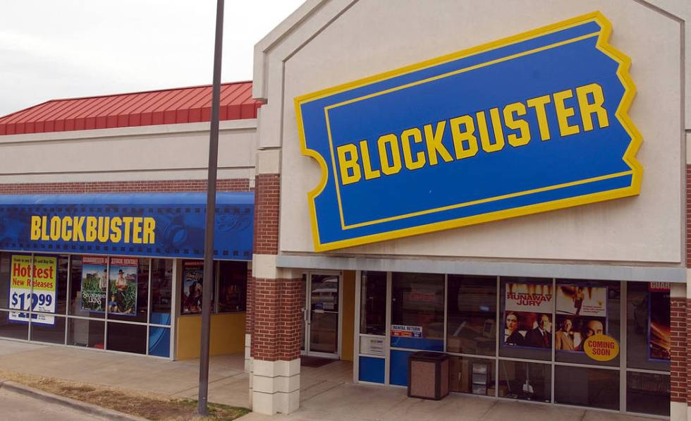 A Blockbuster video rental store is shown in Dallas, Tuesday, Feb. 10, 2004. (AP Photo/LM Otero)