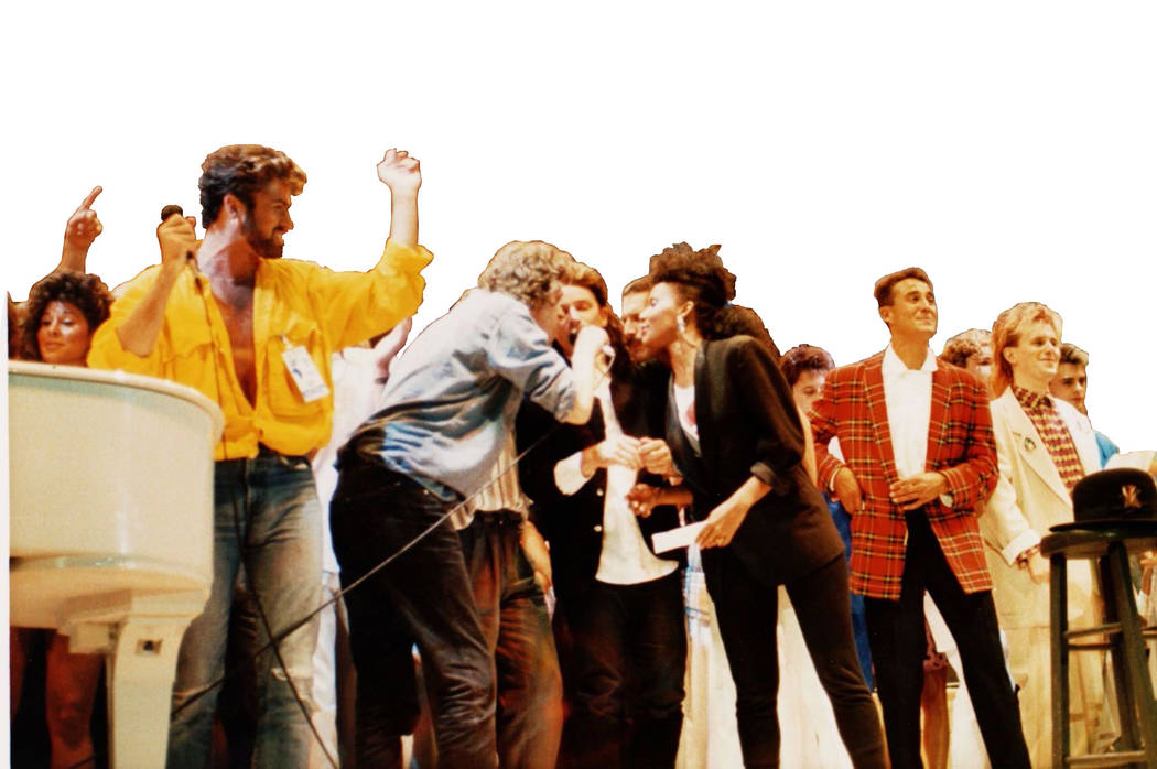 British and Irish singers perform on stage at the Live Aid concert at Wembley Stadium, London, ...