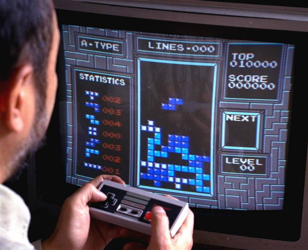 Tetris is shown as played on the Nintendo Entertainment System in New York, June 1990. (AP Ph ...