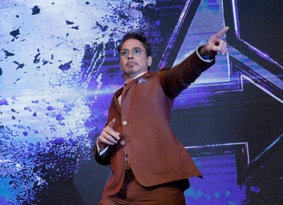 """Actor Robert Downey Jr. poses during an Asia Press Conference to promote """"Avengers Endgame"""" in ..."""