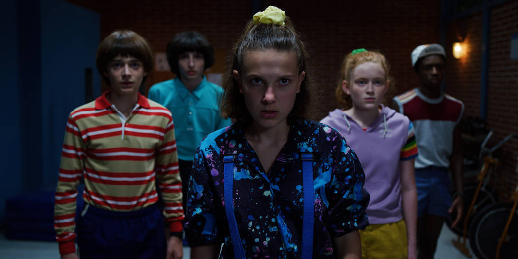 Noah Schnapp, Finn Wolfhard, Millie Bobby Brown, Sadie Sink, Caleb McLaughlin in Stranger Thing ...