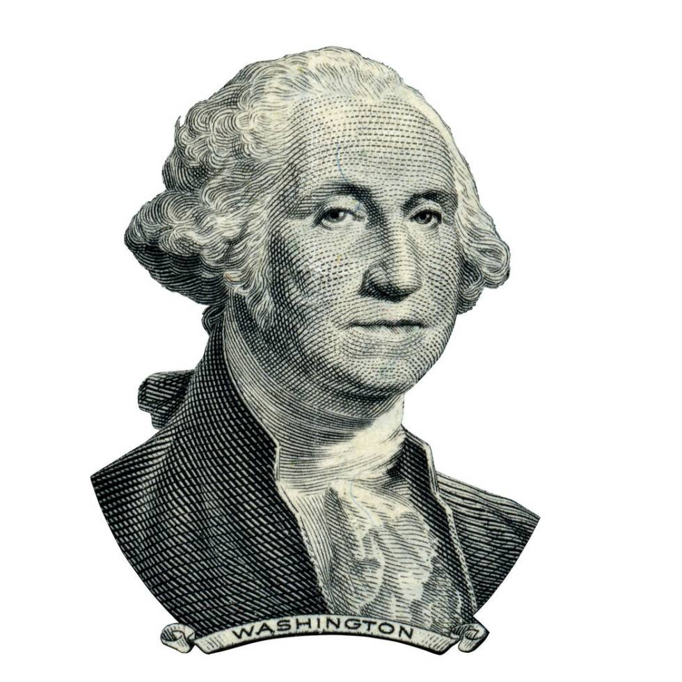 Portrait of first USA president George Washington as he looks on one dollar bill obverse. Clipp ...
