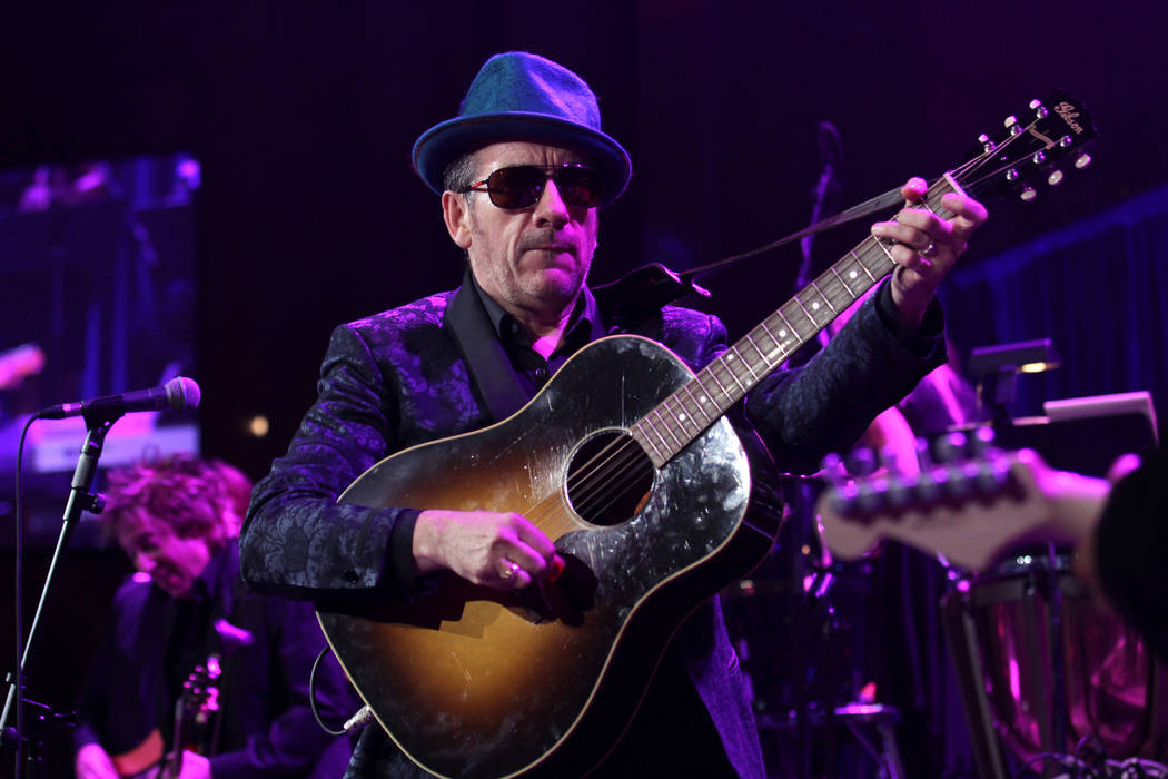 """Singer Elvis Costello performs at the """"Right To Rock Benefit"""" at Cipriani Wall Street ..."""