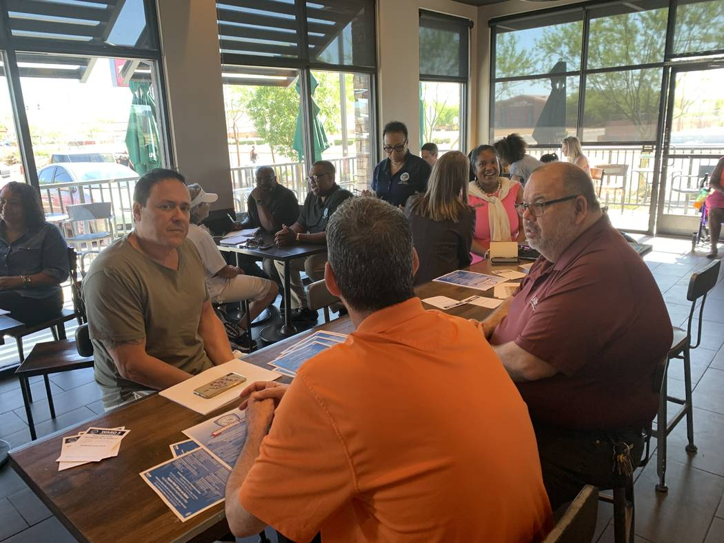 A crowd gathers for Coffee with Councilman Crear at Starbucks. (Mia Sims, Las Vegas Review-Jour ...