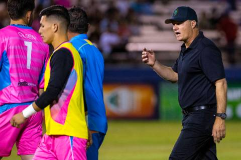 Las Vegas Lights FC goalkeeper Thomas Olsen (1) looks back and listens to head coach Eric Wynal ...